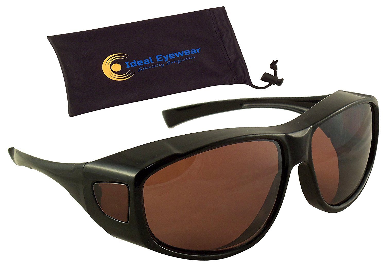 48a73fad42 Sun Shield Fit Over Sunglasses with Blue Blocker HD Driving Lens - Wear Over  Prescription Glasses