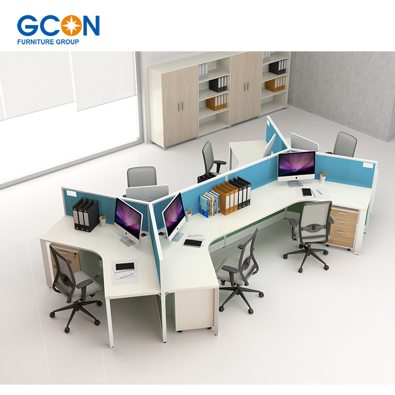 Office Desk For 3 Person Workstation Cubicle Screen Parion Product On