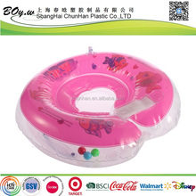 manufacturer round bath training pool floating transparent & pink round inflatable baby swimming ring