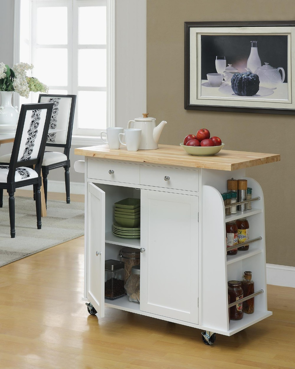 Portable Rolling Wooden Kitchen Trolley Cart Design Countertop Dining Storage Drawers 3 Drawer