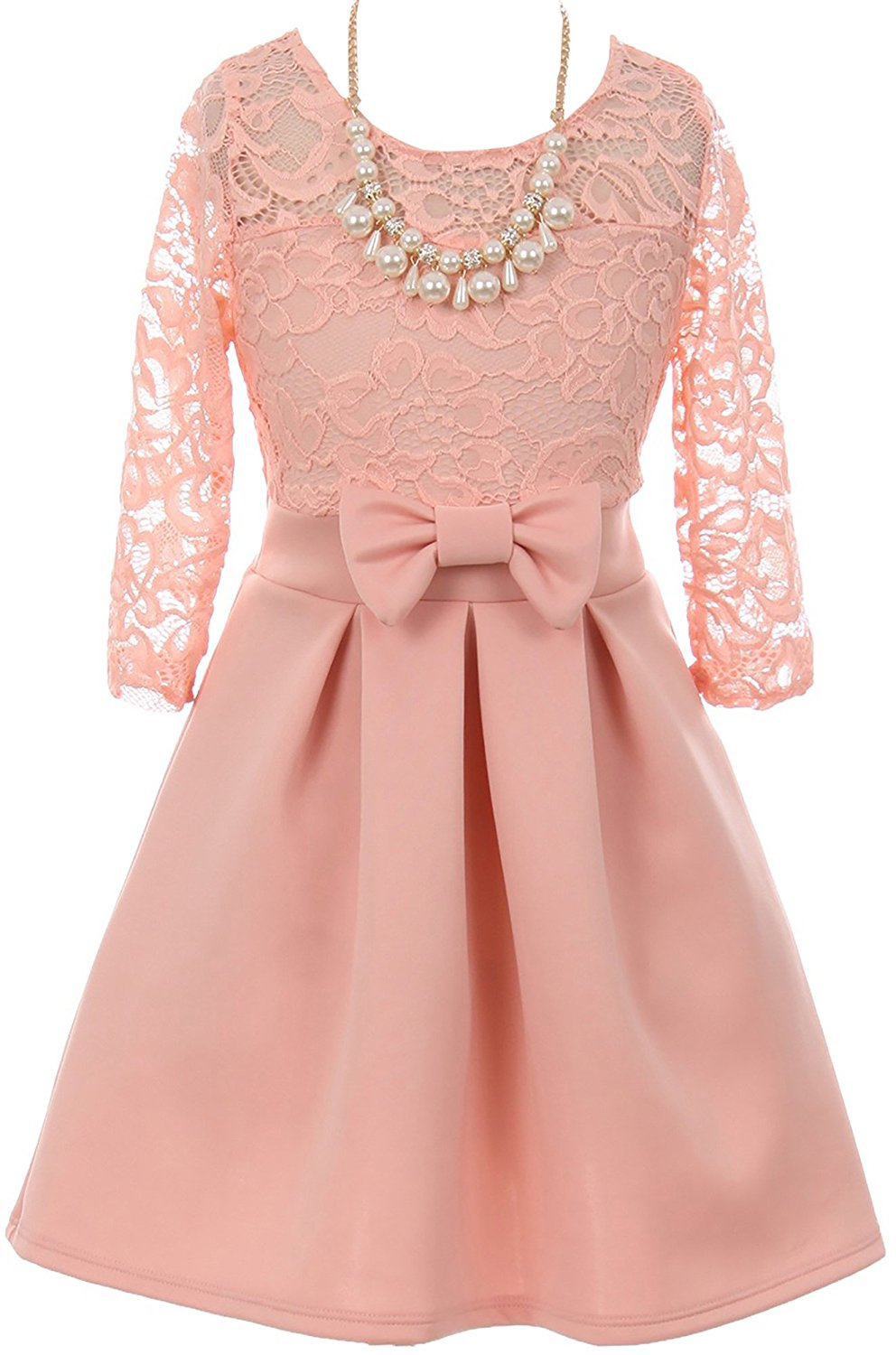 927af084b2 Get Quotations · Dreamer P Floral Lace Long Sleeve Illusion Neckline  Special Occasion Flower Girl Dress