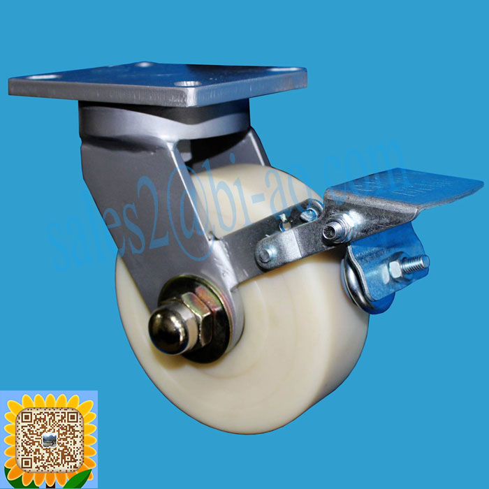 "Heavy Duty Top Plate 3300 lbs. Capacity 300mm 12"" White MC Nylon Caster Wheel Swivel With Brake"