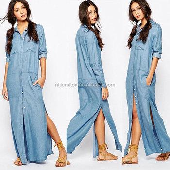 Donne Maxi Long Abiti Denim Casual Jeans Camicia Vestito - Buy Lunga ... 6d58181ab1c
