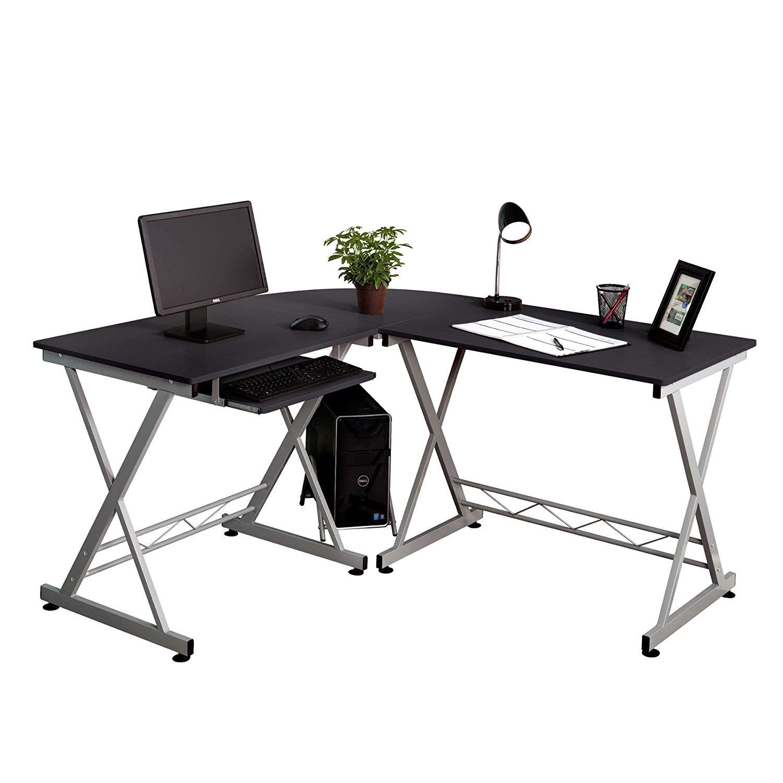 Fineboard Home Office L-Shaped Corner Desk, Black/Silver
