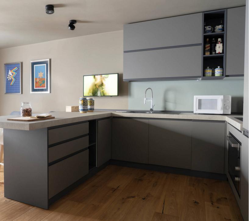 Desain Modern Beige Warna Kayu Dapur Furniture L Bentuk Kabinet Dengan U