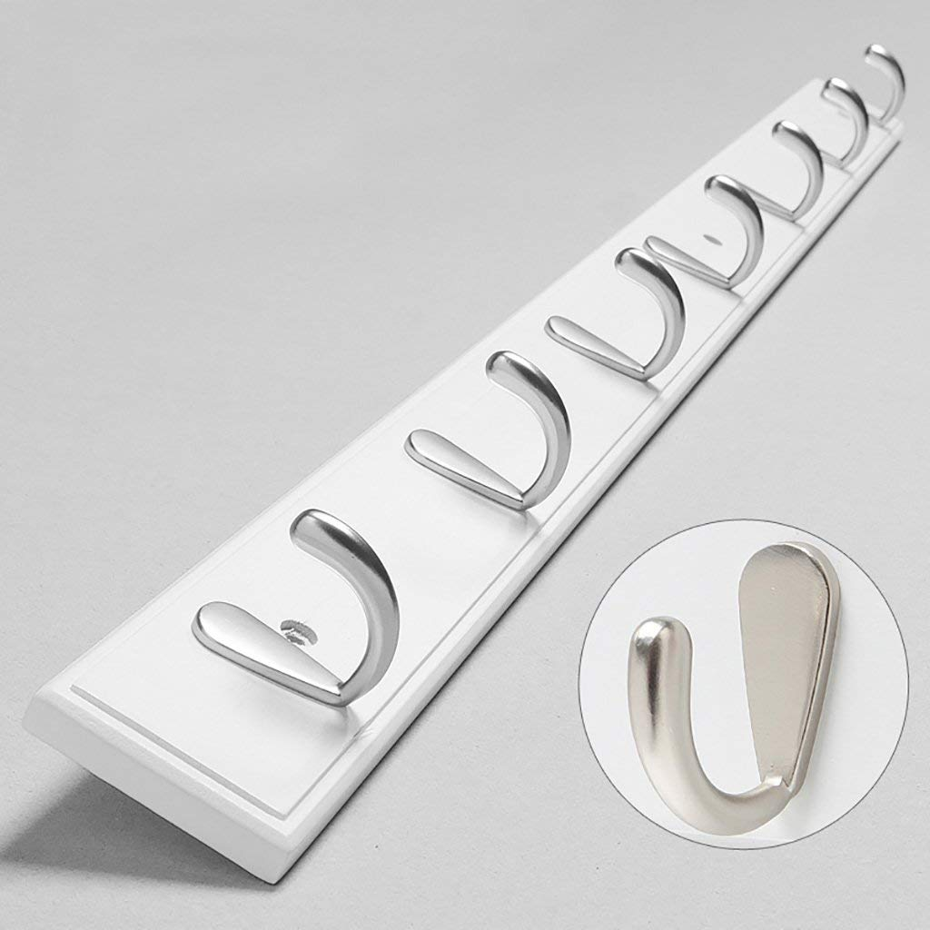 LXLA- Shelf Hangers Coat Rack Hook Up Wood Bamboo Wall-mounted White (Available 4,5,6,7,8 Hooks, 48.5/61/74/86.8/99.6 6 1.2 cm) (Size : 7 hooks)