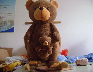 promotional customized Cute brown bear plush baby rocking chair toys animal rocker with baby