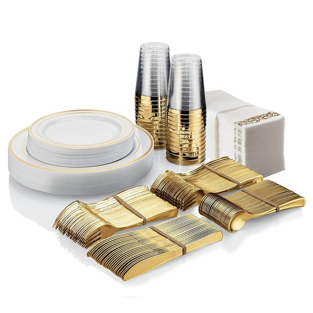 Gold Plastic Silverware Set For Party