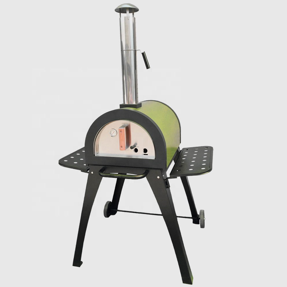 Stainless steel charcoal grill and smoker Commercial wood fired pizza oven Outdoor grill pizza baking machine