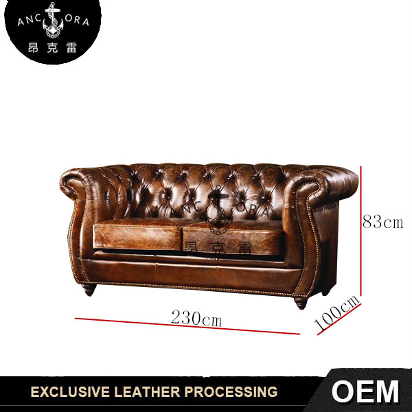 Traditional Leather Sofa with Rolled Arms A117