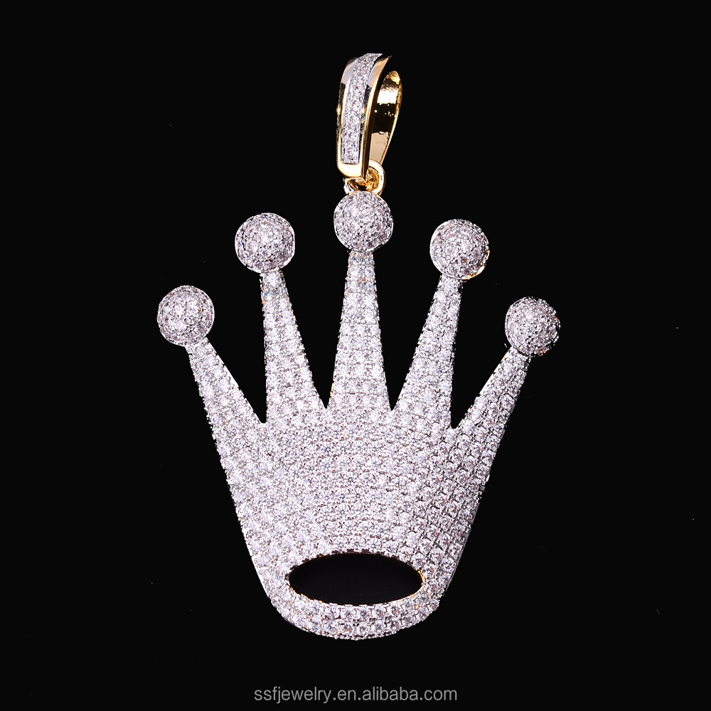 2017 jewelry wholesale china simple micro pave cz crystal gold plated crown pendant for men