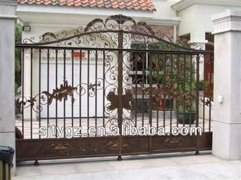 European Simple Style Of Wrought Iron Main Gate Design