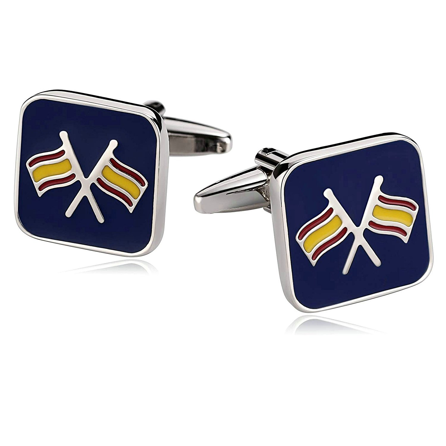Aooaz Mens Stainless Steel Cufflinks Square Double Cross Flag Blue Cufflinks For Men Retro With Gift Box