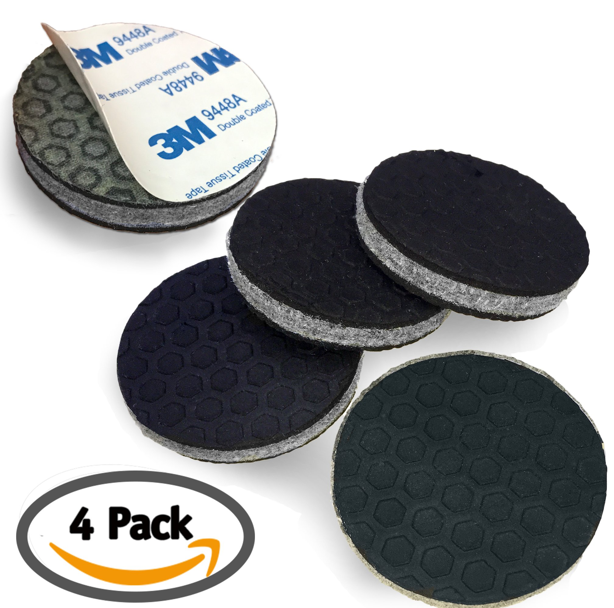 """""""SlipToGrip"""" Non Slip Furniture Pad Grippers - (4 Pack) Extra Large 3"""" Round with Adhesive Side - Furniture Non-Slip Pads with 3/8"""" Heavy Duty Felt Core. No Nails. Patent Pending."""
