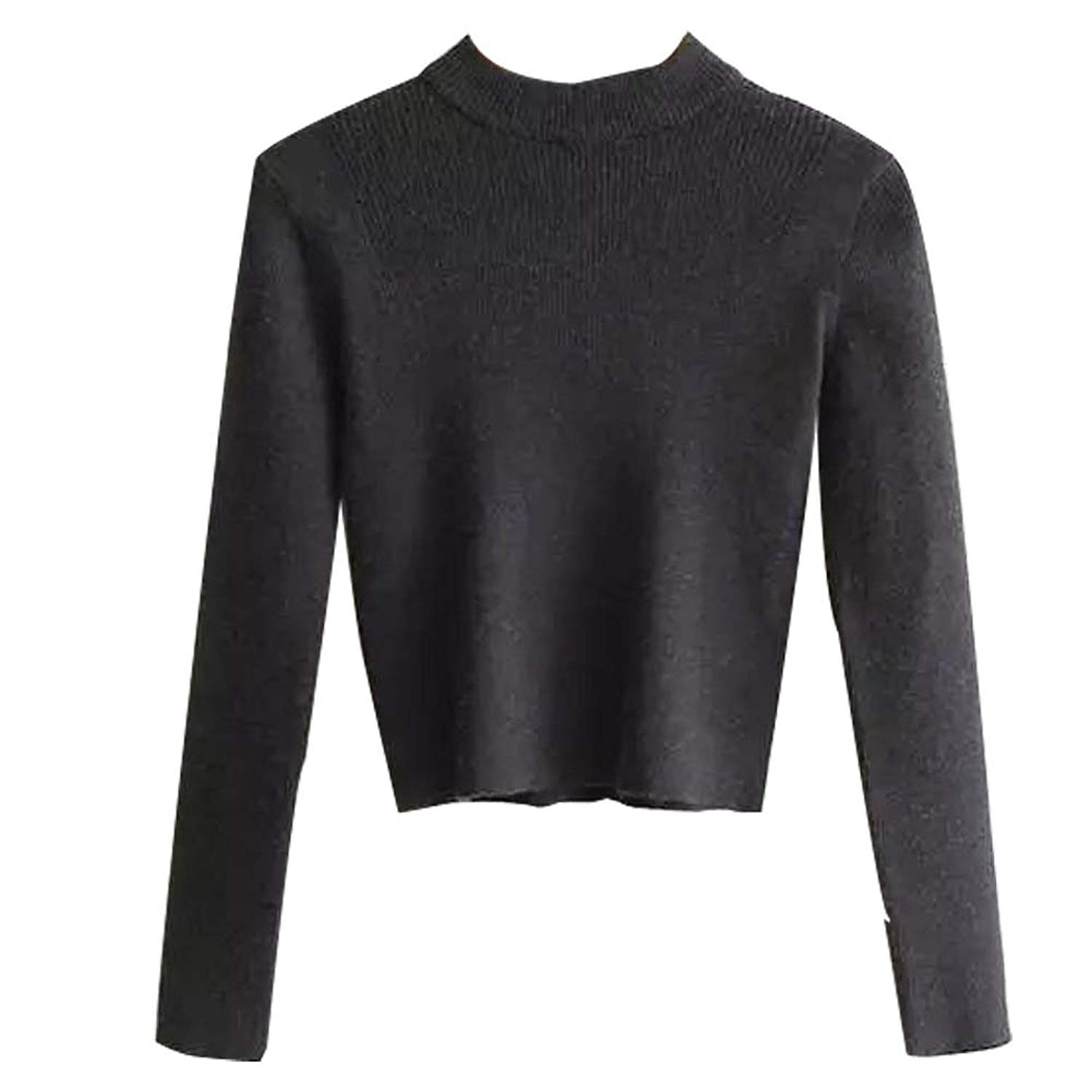 07a3c320f2 Get Quotations · Ashir Aley Mock Neck brown Mock Neck Cropped Knitted  Pullover Small Short Sweater