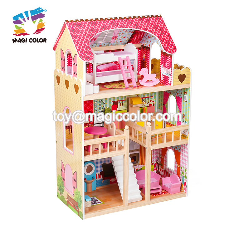 2019 New arrival kids pretend play wooden large dollhouse with pool W06A333C