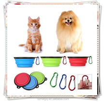 Collapsible silicone pet food water travel bowl