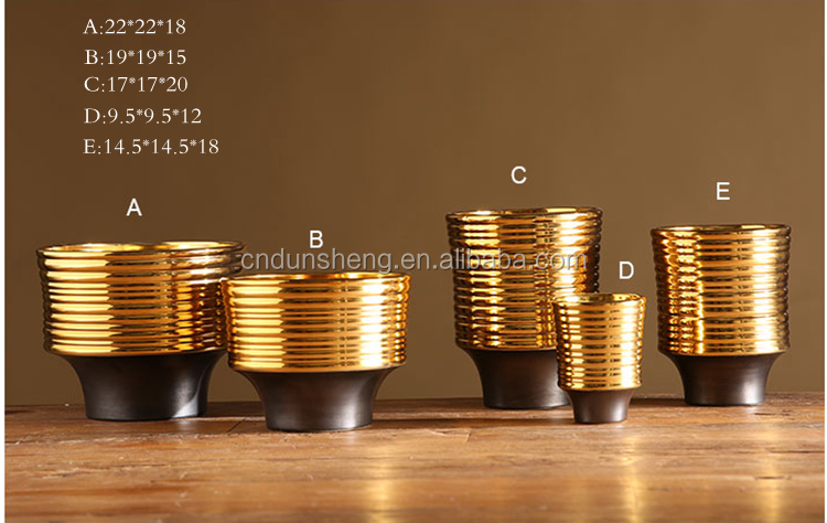 wholesale 5-pieces golden ceramic footed centerpiece vase screw thread design office
