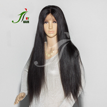 Black color long peruvian human hair full lace wig remy human hair wig silk straight full lace wig with baby hair