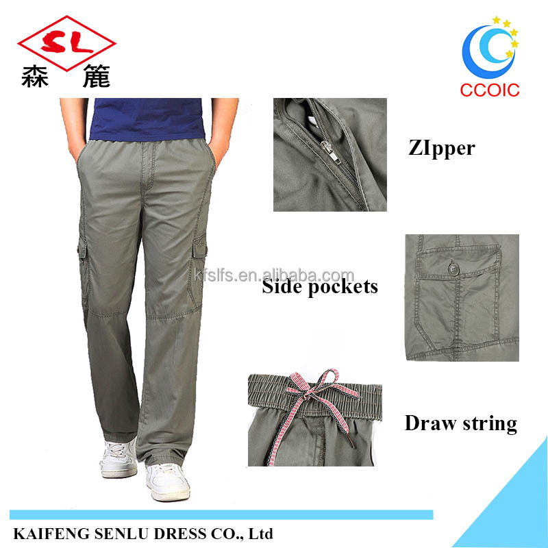 OEM service solid color army 100% cotton elastic waistband men 6 pocket cargo pants casual pants