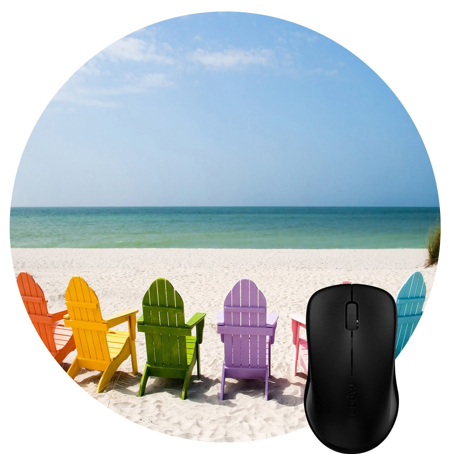Luckcac Round Mouse Pad Customized Design, Colorful Rainbow Chairs on the Summer Sany Beach