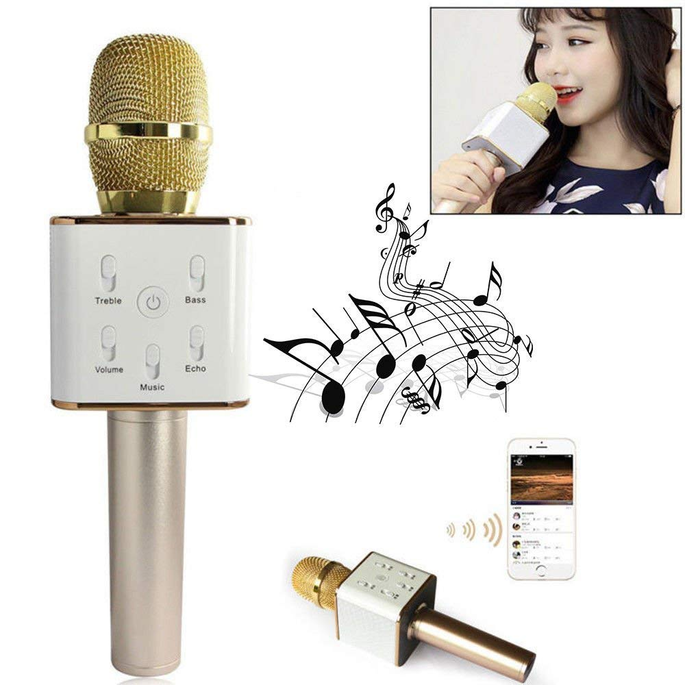 Wireless Q7 Karaoke Microphone, NOPTEG 3-in-1 Gold Microphone Portable Built-in Bluetooth Speaker Machine for iPhone Apple Android PC and Smartphone Gold Color