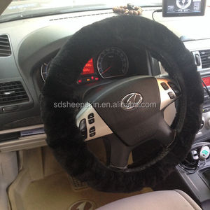 Warm in winter 100% wool sheepskin car steering wheel cover