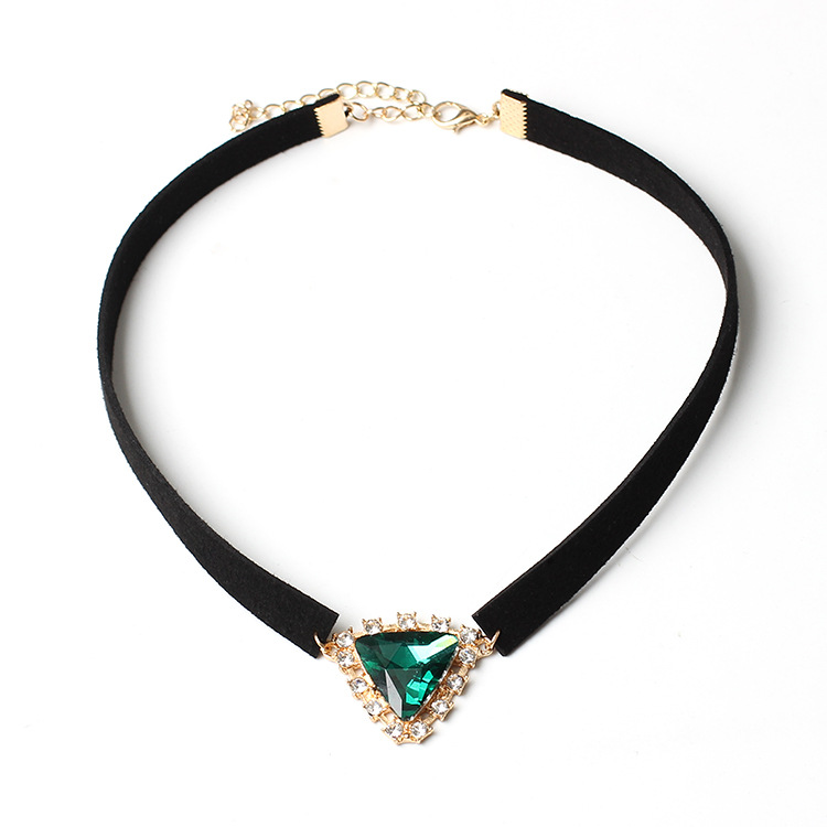 CK0045 JN charming Multi Color Triangle Crystal Choker Necklace Rhinestone Pendant Jewelry Collar Necklace chokers for women