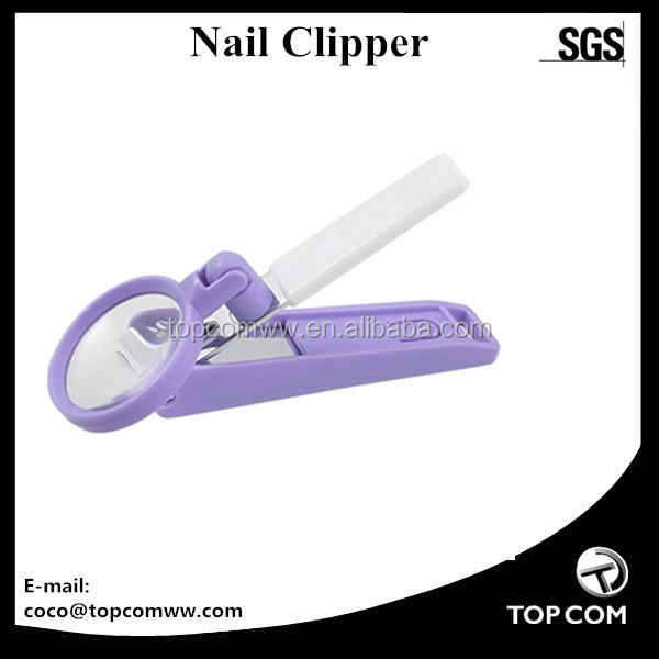 Curved Edge Purple White Finger Nail Clipper Cutter 2X Magnifier for Aged