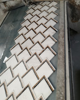 custom VZAG white gold marble inlay waterjet mosaic tile