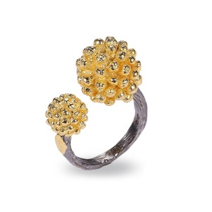 Fashion Design 925 Sterling Silver Gold Plated Flower Shape Ring ,Saudi Arabia Wedding Ring