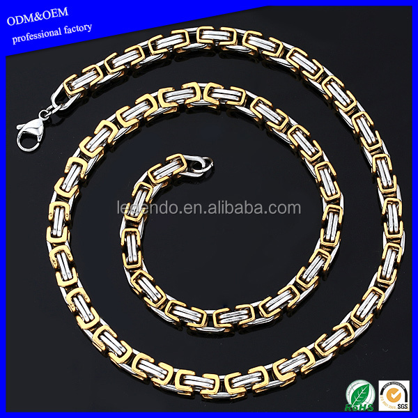 Simple men's stainless steel gold plated bike chain necklace jewelry fashion wholesale