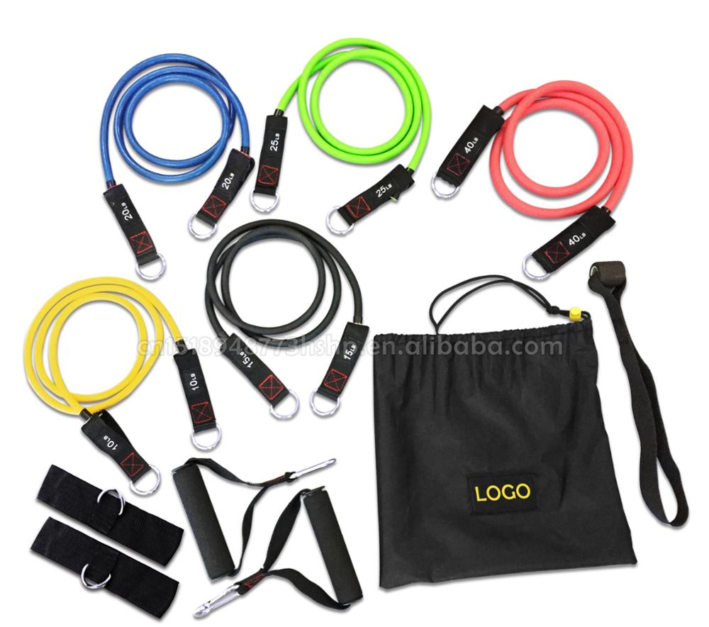 New Arrival Good Quality Strength Exercise Resistance Bands Set Of 11 With Nylon Bag