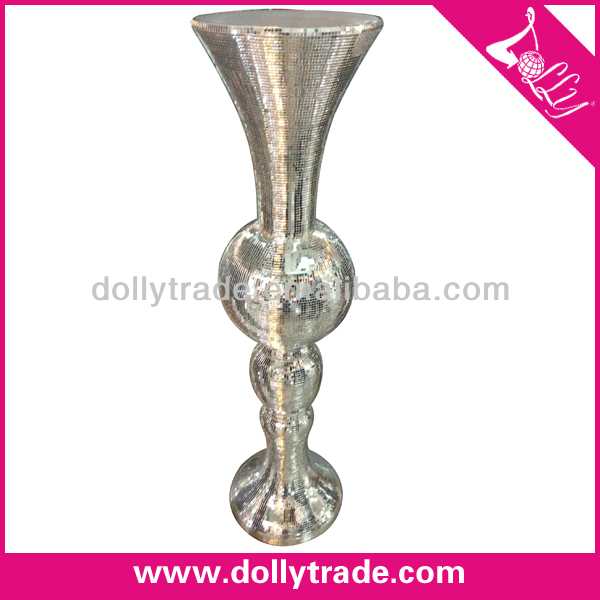 Elegant Expensive Shiny Silver Resin Flower Vase for Wedding Road Lead Centerpiece