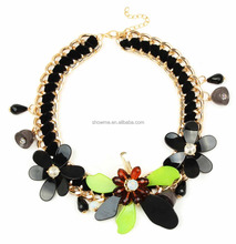 2016 New lux accessories jewelry Gold Black chunky chain acrylic flower necklace costume acrylic jewelry