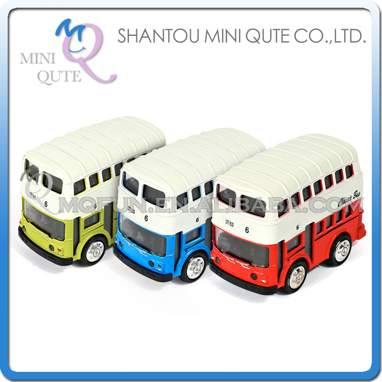 Mini Qute 1:43 kid Die Cast pull back alloy music classic travel tour bus model car electronic educational toy NO.MQ 1215