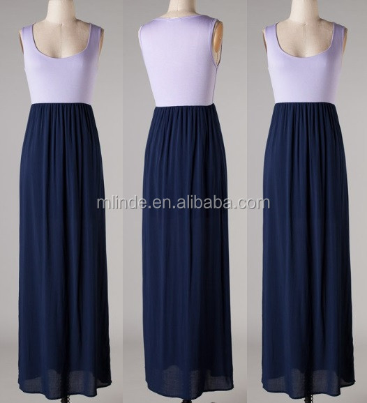 Sleeveless Color Block Maxi Dress Lavender/navy,Ladies Western ...