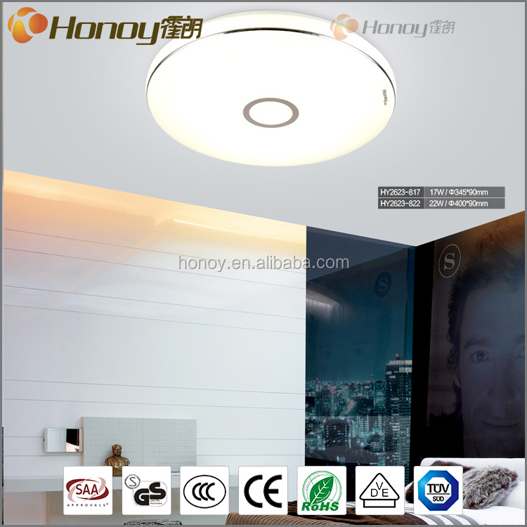 Indoor lighting living room 22w round acrylic long lifespan led suspended ceiling lamp with CE approval
