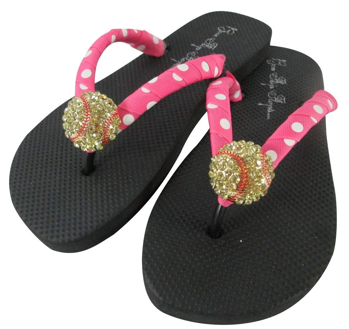 3aa273ea6c9f57 Get Quotations · Softball Flip Flops with Polka Dot Bling Rhinestone