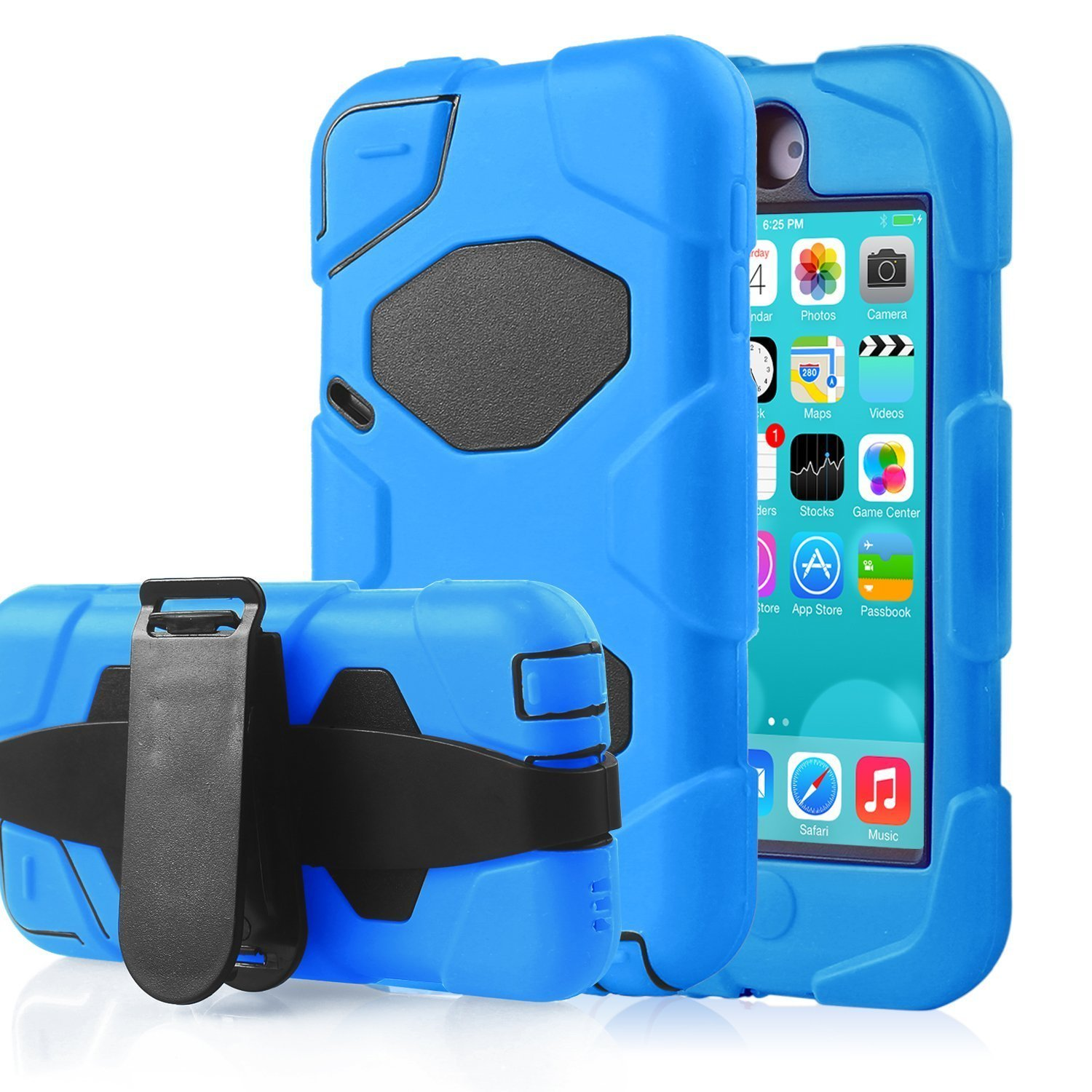 iPod Touch 5 Case, iPod Touch 6 Case, GreenElec with Soft Hybrid Armor Defender Heavy Duty Shock-Proof Belt Clip Case Cover for Apple iPod Touch 5 6th Generation_2015 Released (Blue)