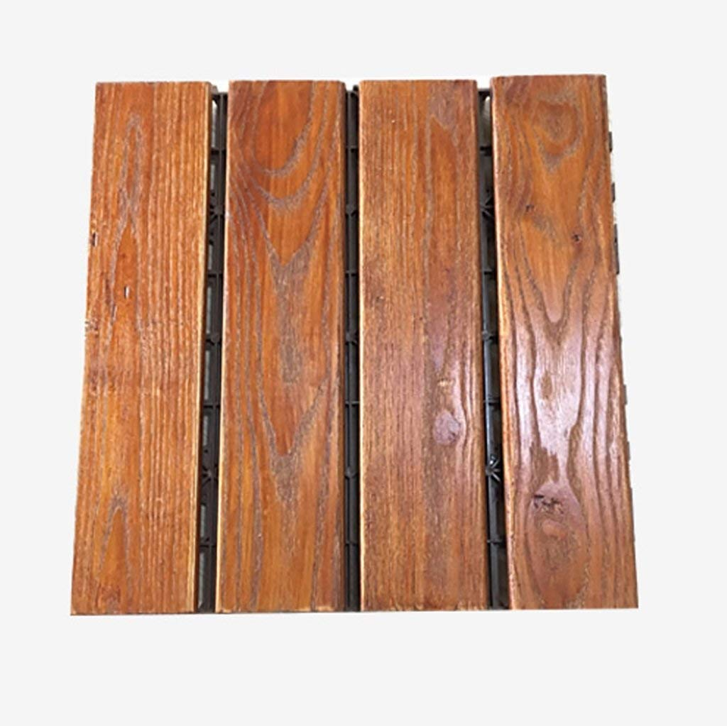 Flooring Wooden Floor, Outdoor Patio Garden Terrace anticorrosive Solid Wood DIY Floor, Indoor Balcony Bathroom Wooden Anti-Skid Mosaic Floor, Solid Wood self-pelling Square Floor Size: 3030cm
