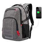 Grey Laptop Notebook TSA Friendly Bag Business Trip Casual Daypack 17.3 inch Travel Laptop Backpack with USB