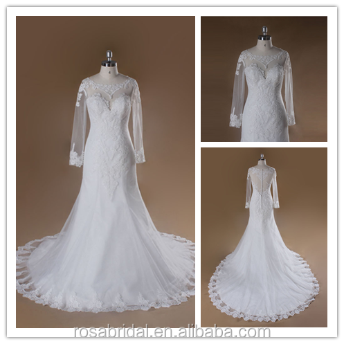 Iluusion Long Sleeve and Boat Neck Trumpet Applique Boned Lace Alibaba Wedding Dress xy-334-3