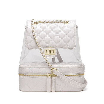 c39c0576ca7 Women Quilted Mini Small Clear waterproof Backpack For Women Fashion Cute  Plastic School Bag Chain