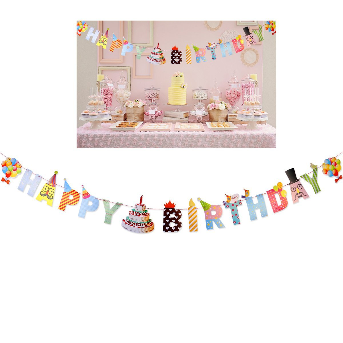 Tinksky Happy Birthday Banners Personalized Banners for Birthday Party Decoration