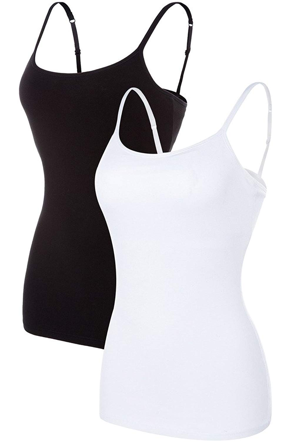 Sociala Women's Shelf Bra Camisole Active Basic Cami Cotton Tanks Top Pack of 2