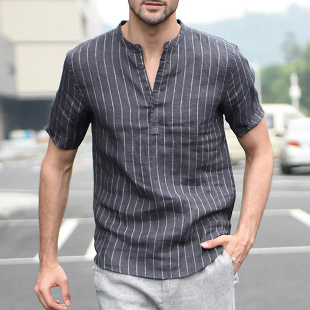 441cedbf7 Fashion Casual Men's Shirt Summer Baggy Cotton Linen Stripe Short Sleeve  Retro Shirts Tops Blouse Men Brand camisas de hombre