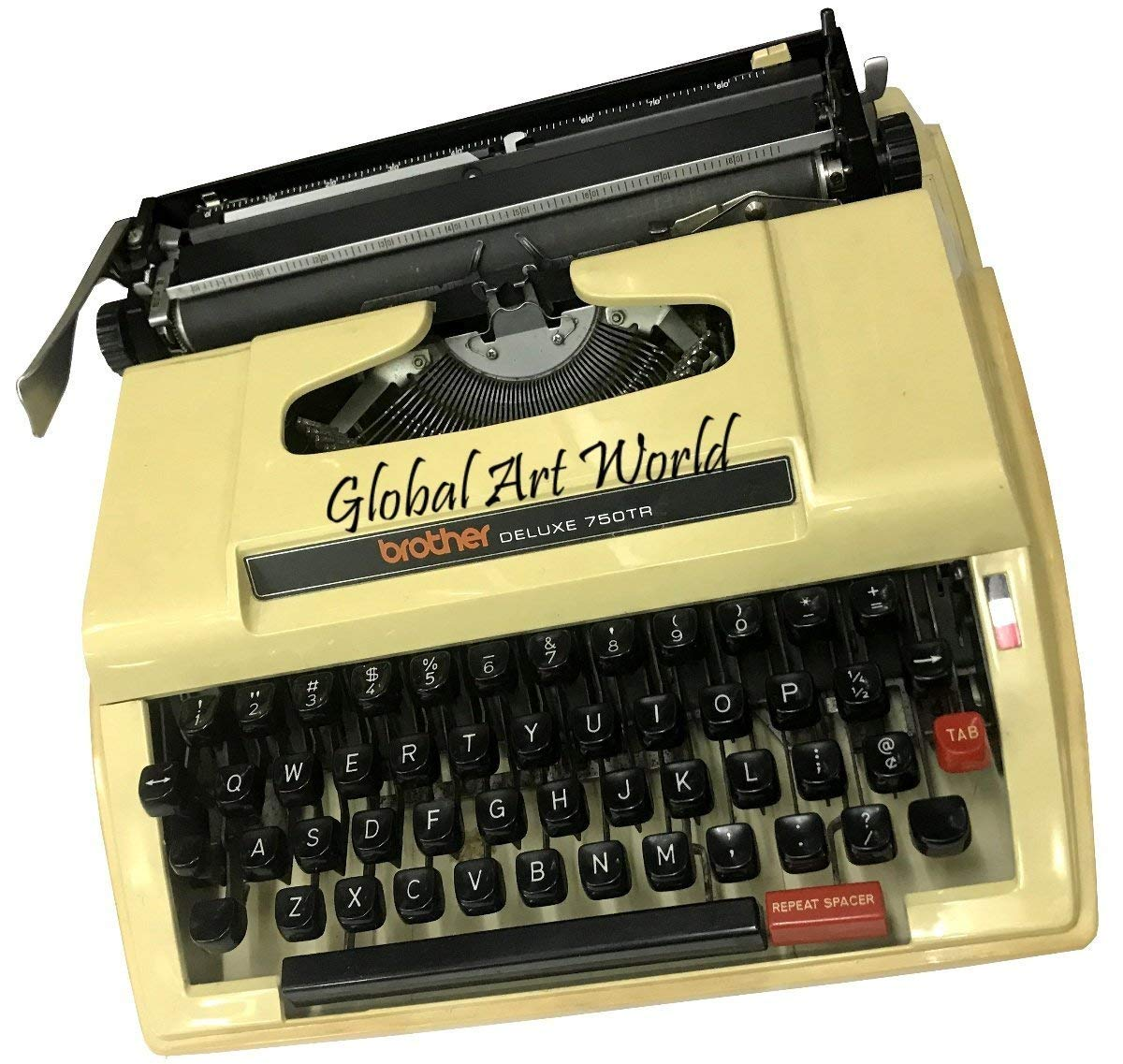 Get Quotations · Global Art World Brother Deluxe 750Tr Made In Nagoya  Original Typewriter, Portable, Brown Plastic