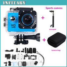 Add Monopod+Camera Bag SJ4000 Sport Camera 12MP 30M Waterproof 1.5 inch 170 Wide angle lens 1080P Full HD Sport action Camera