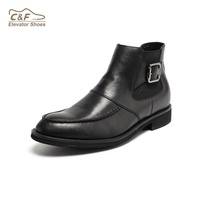 black height increasing shoes genuine leather chelsea boots for men